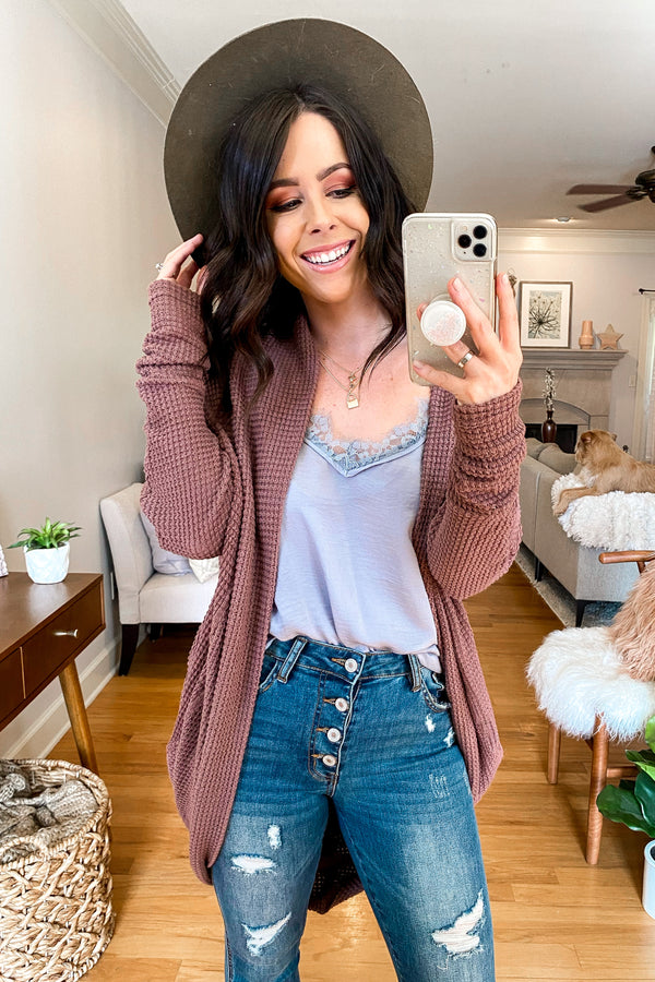 Mauve / SM Cathleen Waffle Knit Cocoon Cardigan - Madison and Mallory