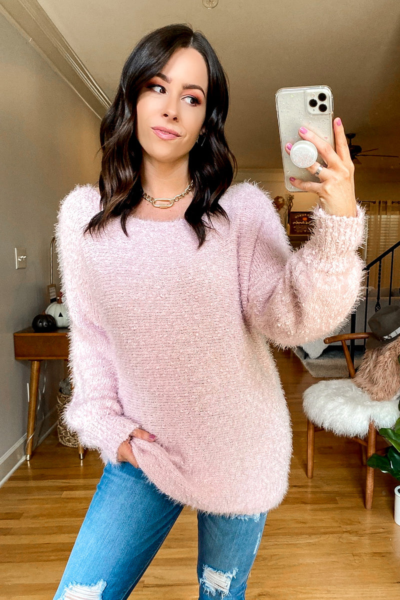 Light Pink / S Bryanne Fuzzy Knit Sweater - Madison and Mallory