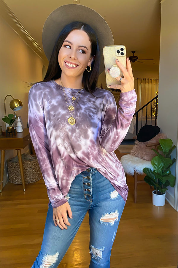 Purple / S Medford Bleach Dye Long Sleeve Top - Madison and Mallory