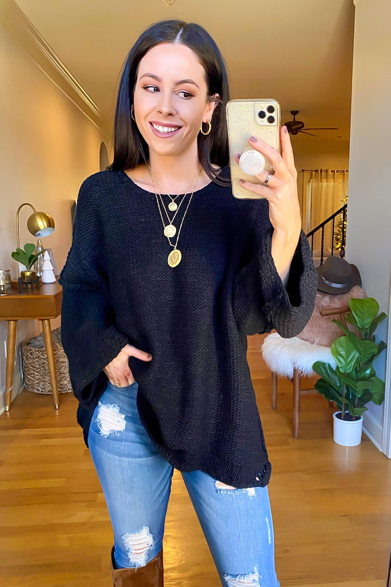 Black / SM Peggy Oversized Knit Sweater - Madison and Mallory