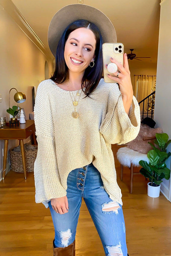 Oatmeal / SM Peggy Oversized Knit Sweater - Madison and Mallory