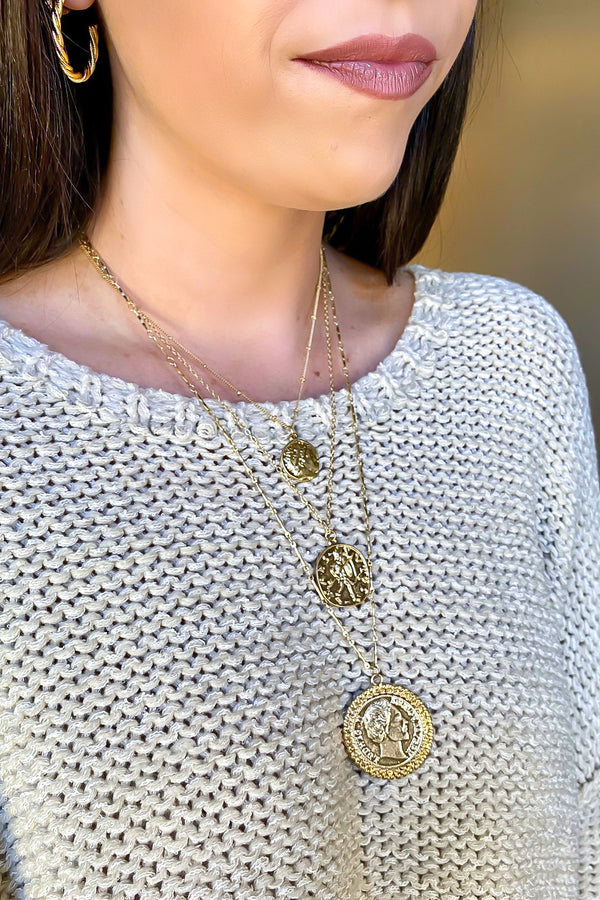 Gold Sealed Secrets Coin Layered Necklace - Madison and Mallory