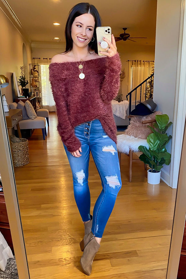 Endeavor Cozy Knit Off Shoulder Sweater - Madison and Mallory