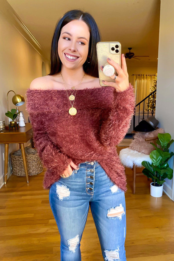 S / Red Brown Endeavor Cozy Knit Off Shoulder Sweater - Madison and Mallory