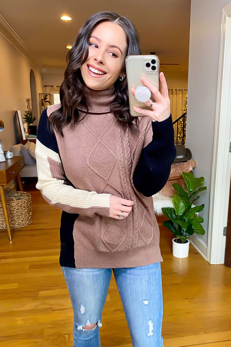 Looking Classic Color Block Cowl Neck Sweater - Madison and Mallory