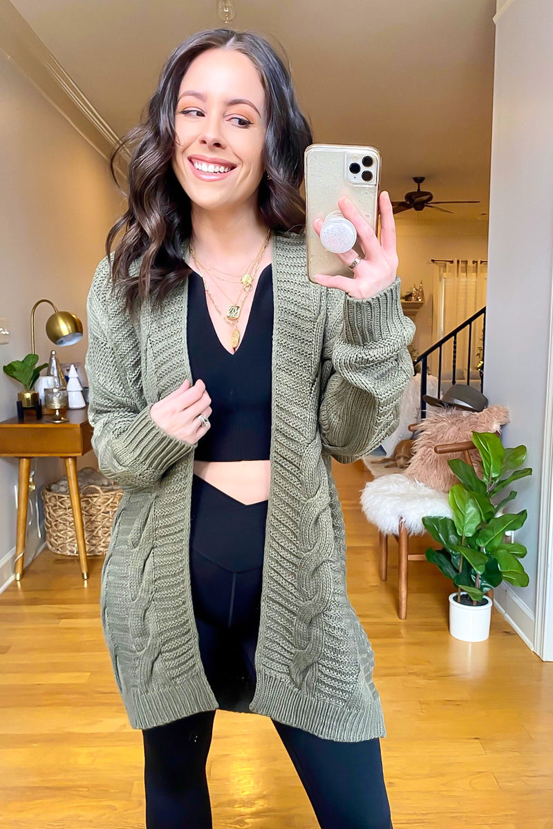 Olive / SM Rovena Cable Knit Cardigan - Madison and Mallory