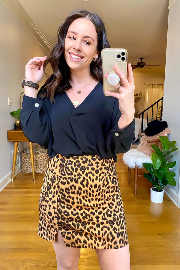 S / Brown Malea Animal Print Side Slit Skirt - Madison and Mallory