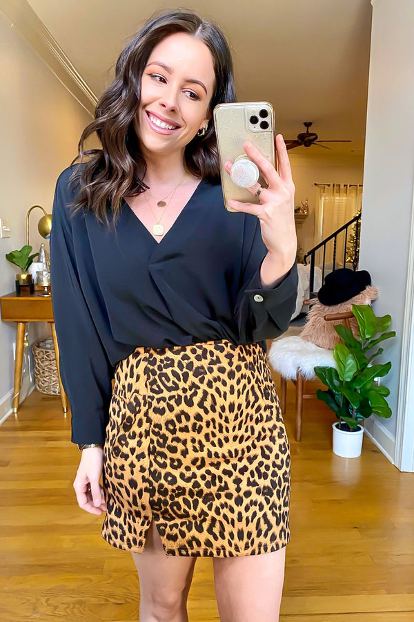 Malea Animal Print Side Slit Skirt - Madison and Mallory