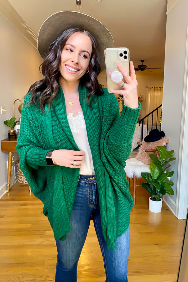 Green / OS Sayulita Knit Detail Cardigan - Madison and Mallory