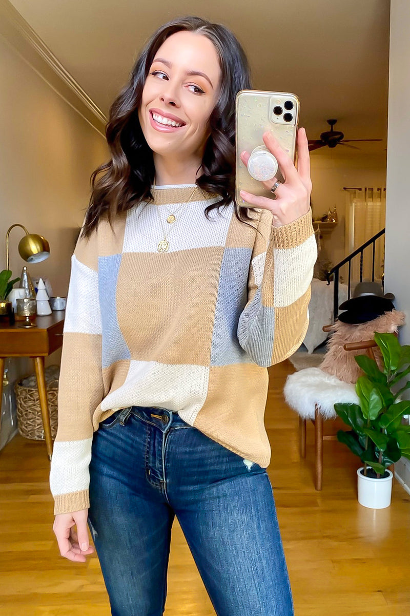 S / Taupe Tribeca Color Block Sweater - Madison and Mallory