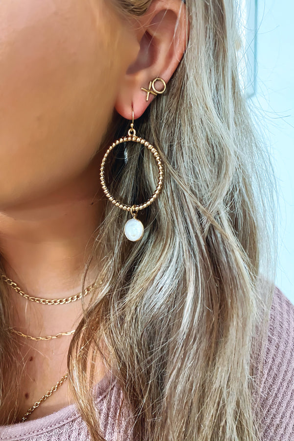 Gold Lilith Pearl Hoop Earrings - Madison and Mallory