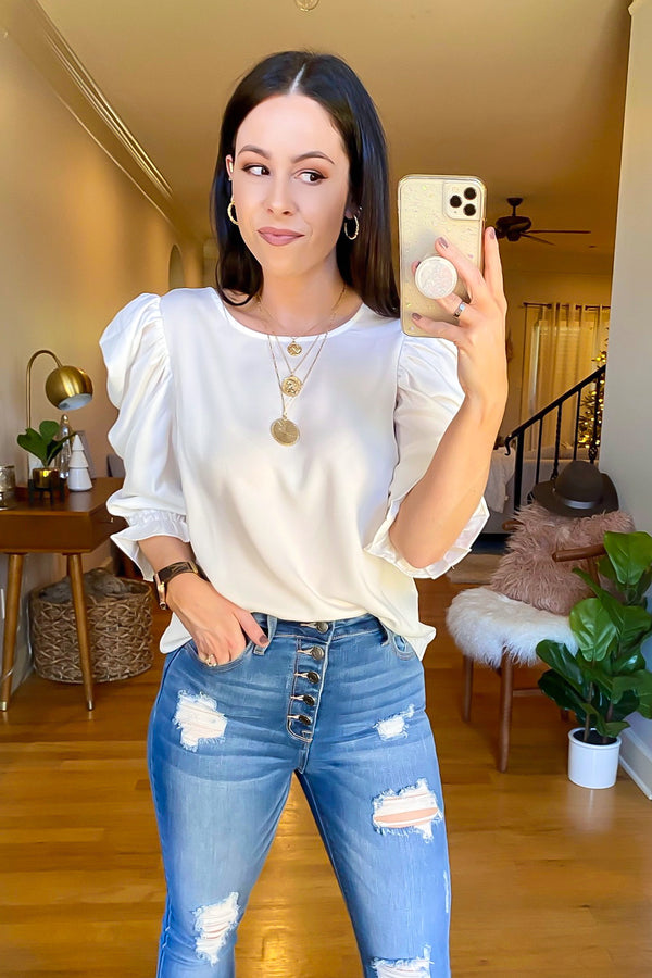 White / S With Finesse Puff Sleeve Top - Madison and Mallory