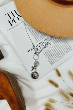 Over the Horizon Coin and Cross Charm Necklace - Madison and Mallory
