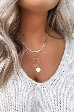 Gold Lasting Confidence Cross Layered Necklace - Madison and Mallory