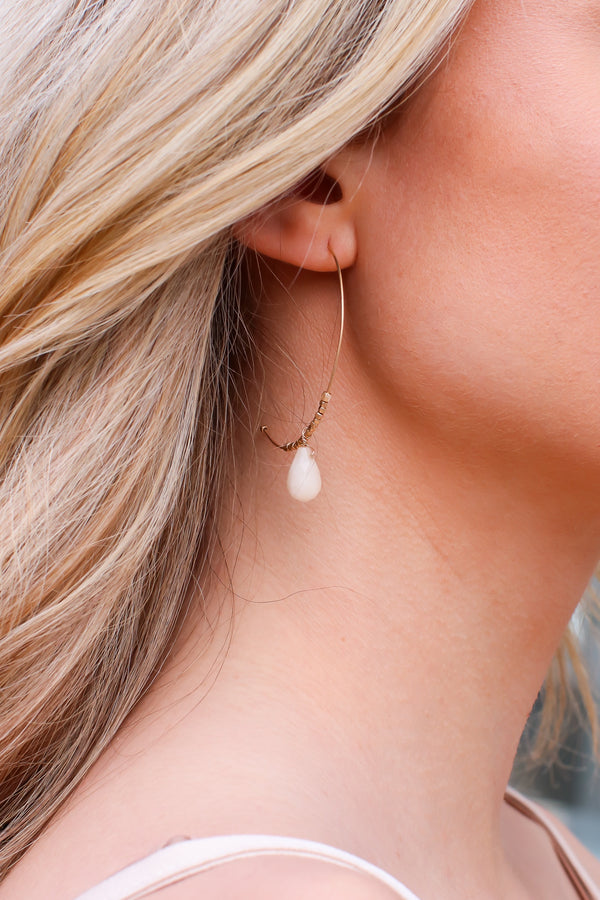 Ivory Infinite Glory Stone Drop Hoop Earrings - Madison and Mallory