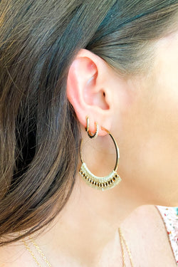 Ivory Telia Beaded Wrap Hoop Earrings - Ivory - Madison and Mallory