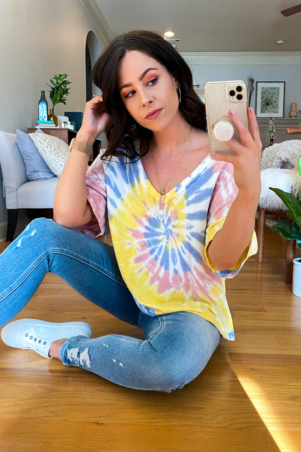 S / Lemon New Generation Tie Dye Swirl Top - Madison and Mallory