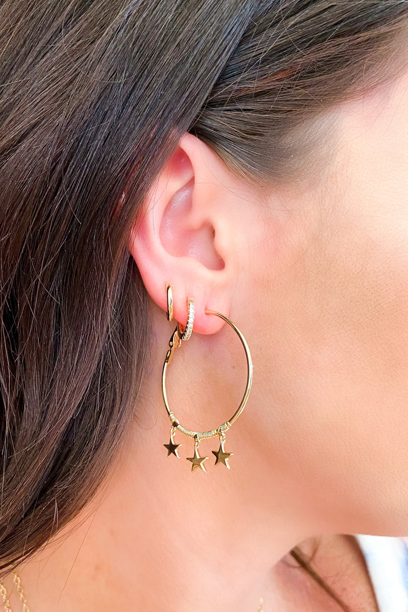 Gold Triple Star Charm Hoop Earrings - Madison and Mallory