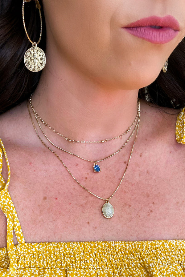 Gold Subtle Sparkle Stone Accent Layered Necklace - Madison and Mallory
