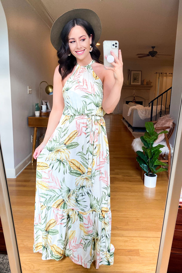 S / Ivory Sun kissed Dreams Tropical Maxi Dress - Madison and Mallory