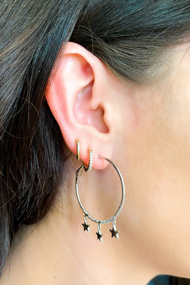 Silver Triple Star Charm Hoop Earrings - Madison and Mallory