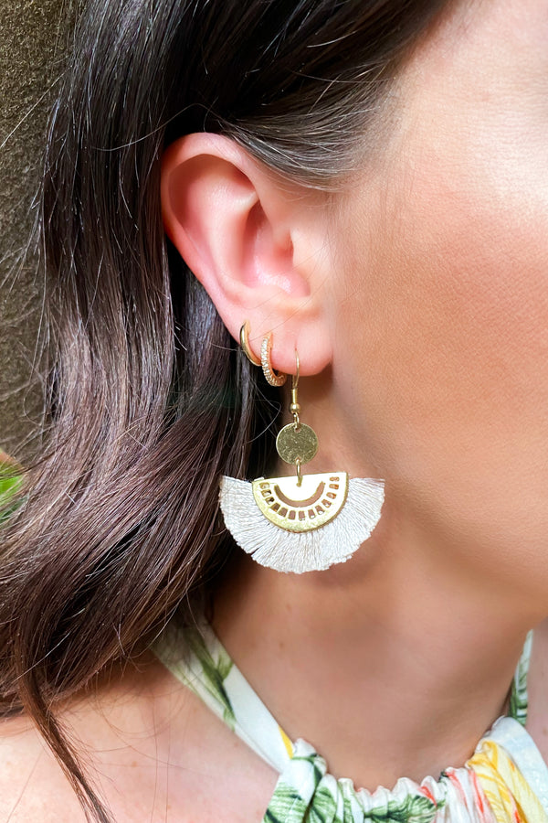 Ivory Finely Calibrated Fringe Earrings - Madison and Mallory