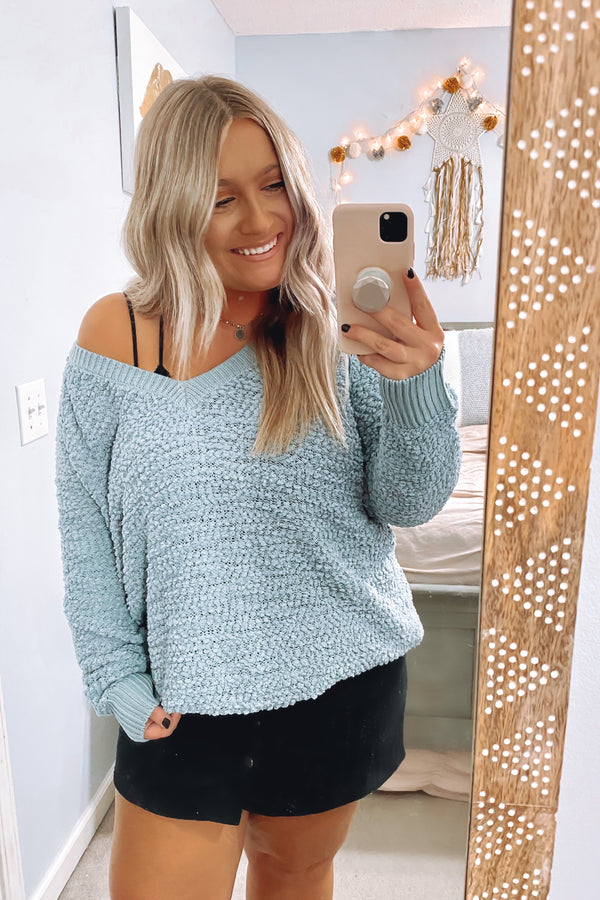 Sage / S Easy Moving Popcorn Knit Sweater - Madison and Mallory