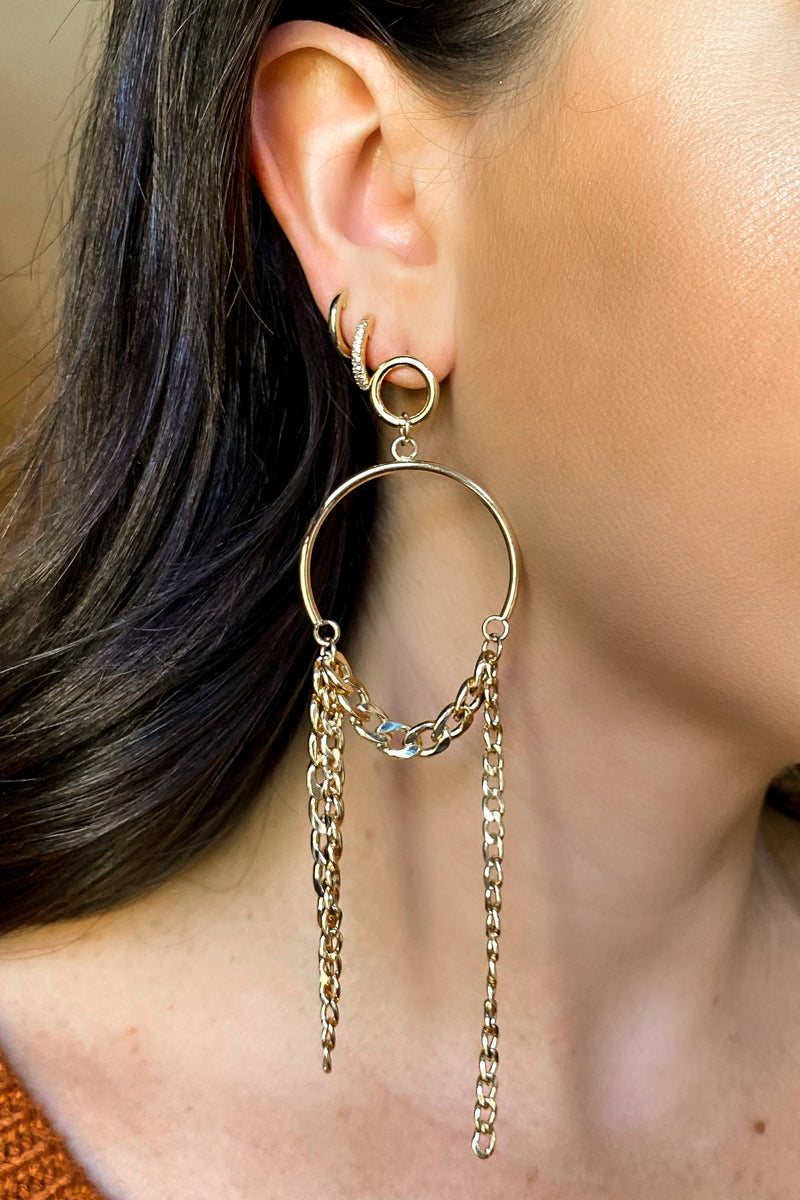 Gold Call the Shots Chain Drop Earrings - Madison and Mallory