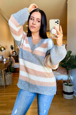 S / Gray Cozy Splendor V-Neck Striped Sweater - Madison and Mallory