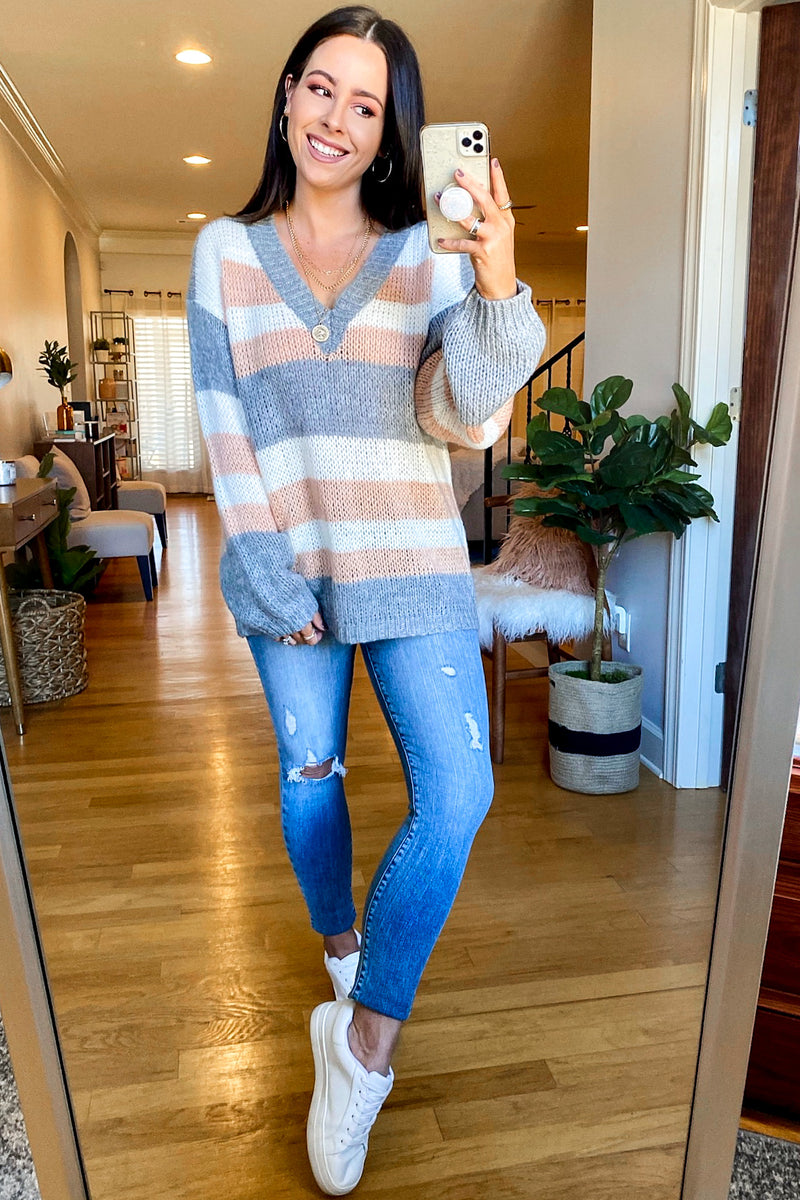 Cozy Splendor V-Neck Striped Sweater - Madison and Mallory