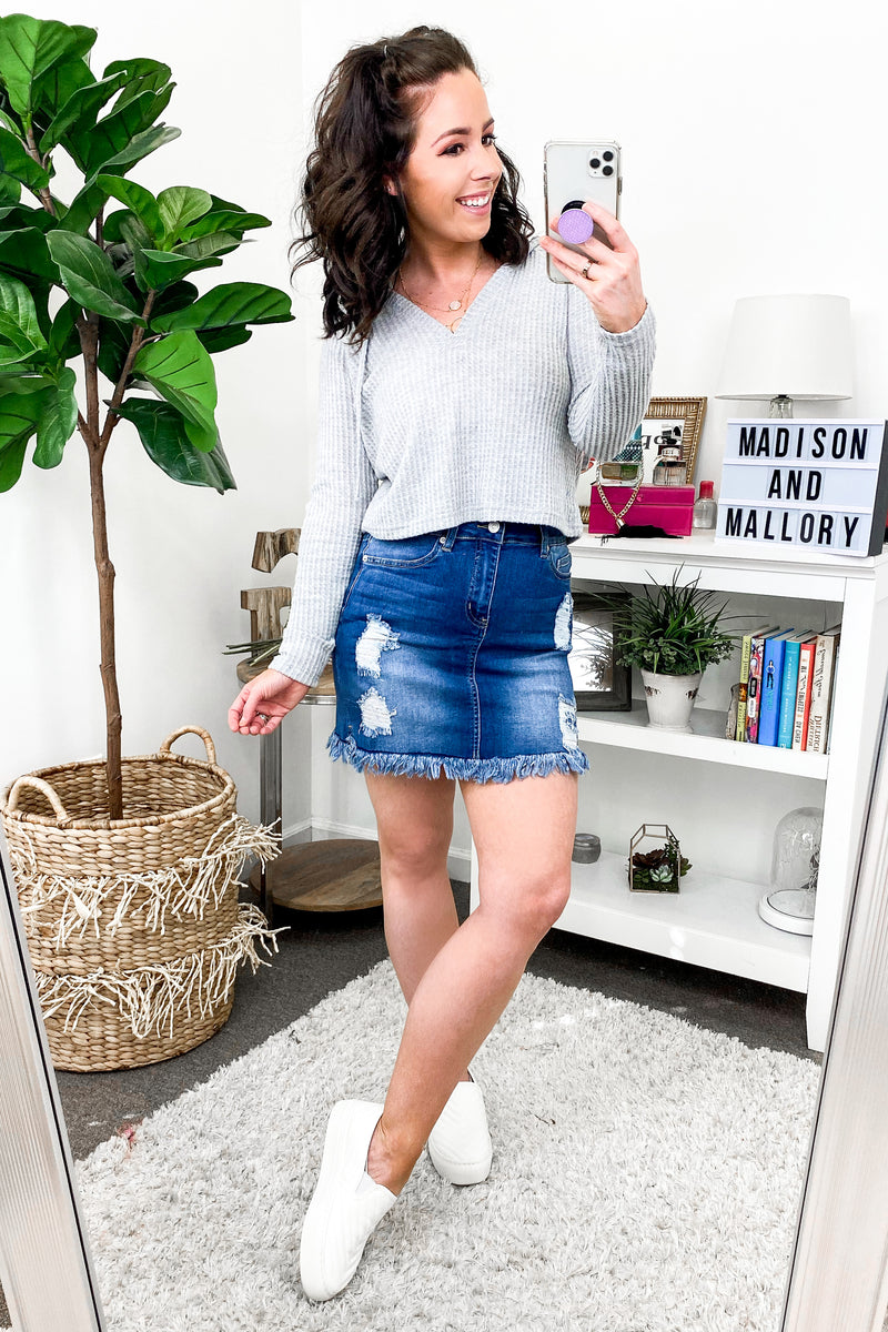 S / MD. Denim Find Your Rhythm Distressed Denim Skirt - Madison and Mallory