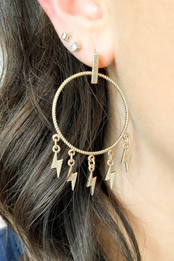 Gold Luck Struck Lightning Bolt Earrings - Madison and Mallory