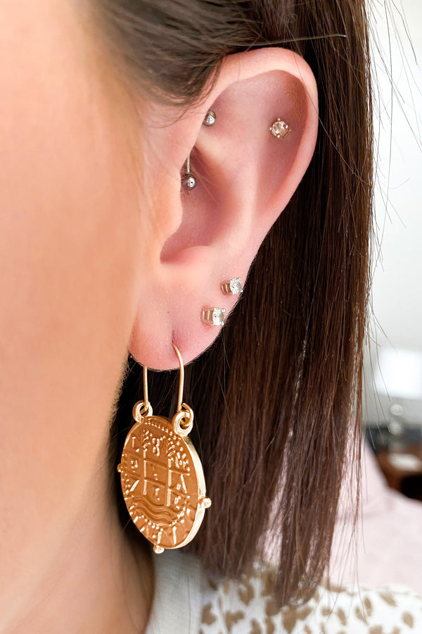 Gold Santoli Coin Drop Hoop Earrings - Madison and Mallory