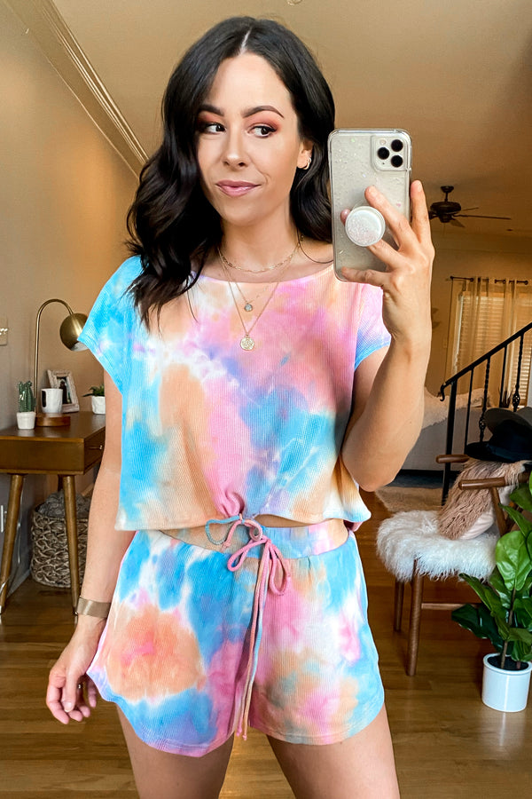 Pink / S Mood Lighting Tie Dye Drawstring Top - FINAL SALE - Madison and Mallory