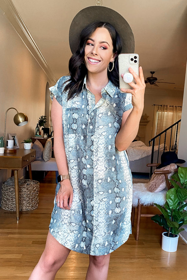 On the Sly Snake Print Shirt Dress - Madison and Mallory