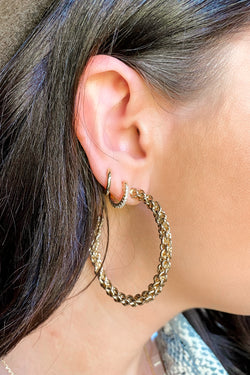 Gold Next Round Twisted Chain Hoop Earrings - Madison and Mallory