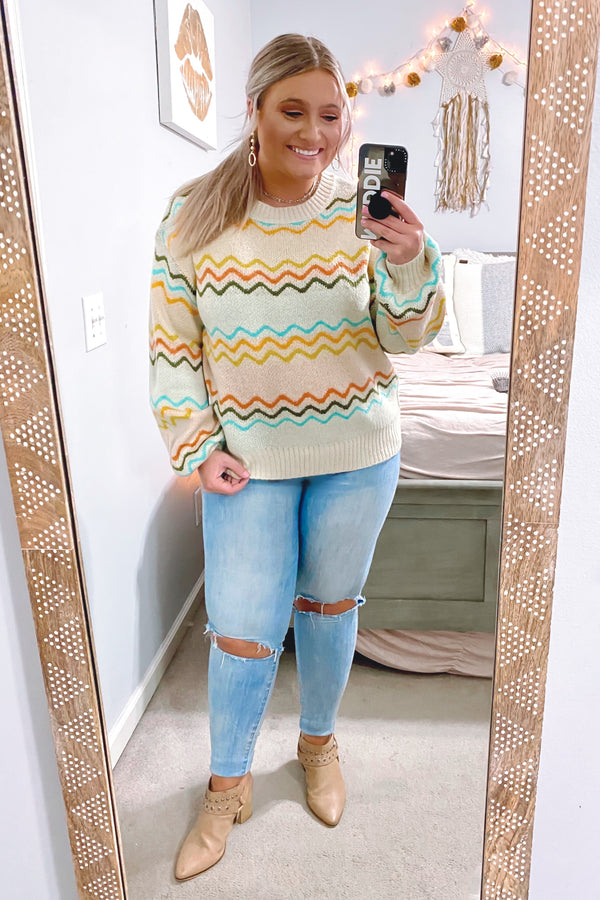 Surrealist Multi Color Knit Sweater - Madison and Mallory