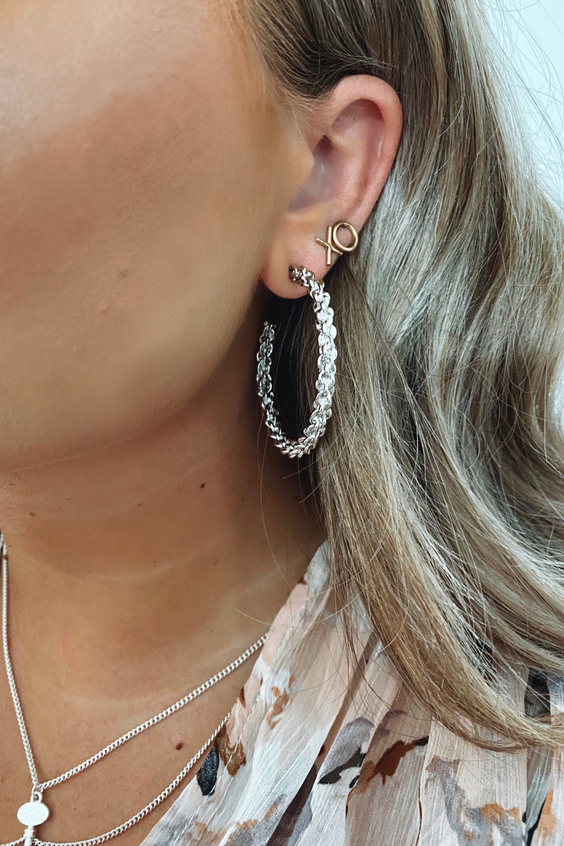 Silver Next Round Twisted Chain Hoop Earrings - Madison and Mallory