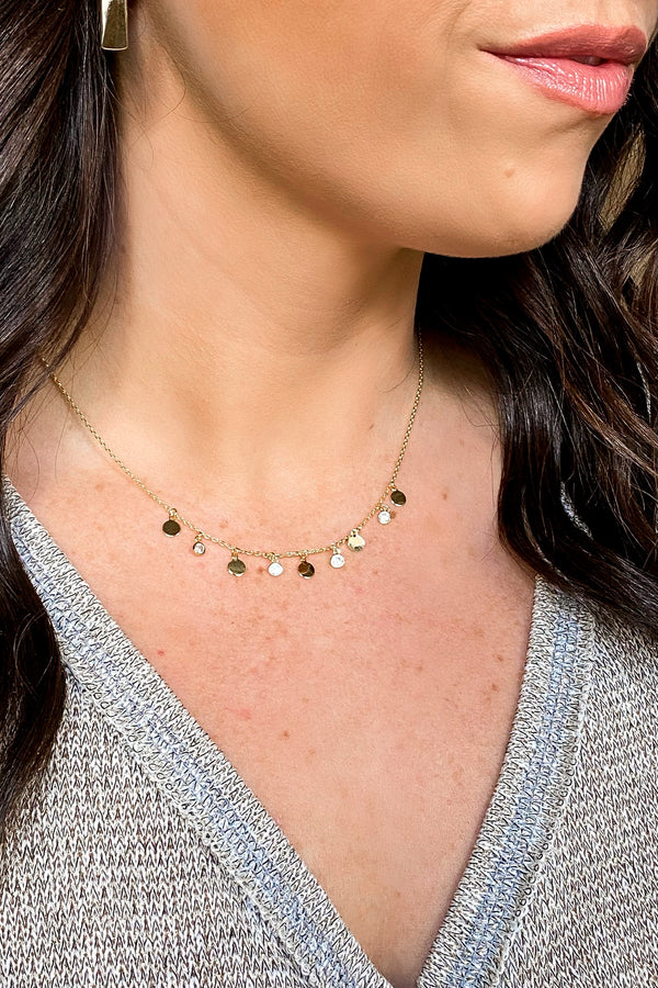 Gold Adalira Disc Charm Necklace - Madison and Mallory