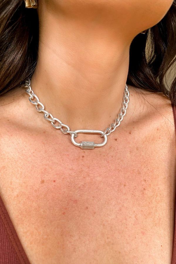 Silver Connect to You Carabiner Chain Choker Necklace - Madison and Mallory