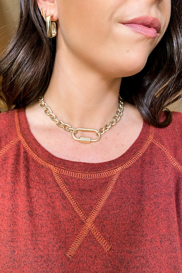 Gold Connect to You Carabiner Chain Choker Necklace - Madison and Mallory