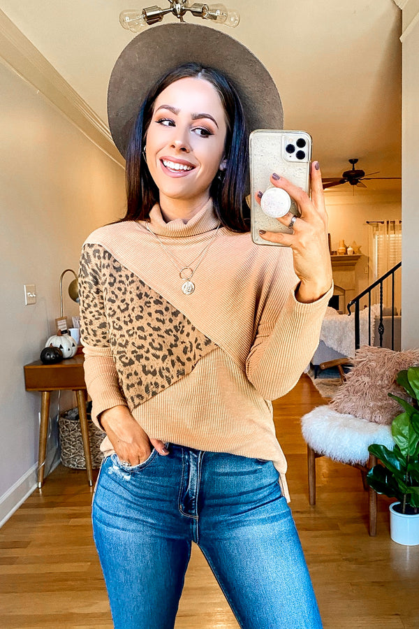 S / Camel Lavinia Animal Print Contrast Pullover - Madison and Mallory