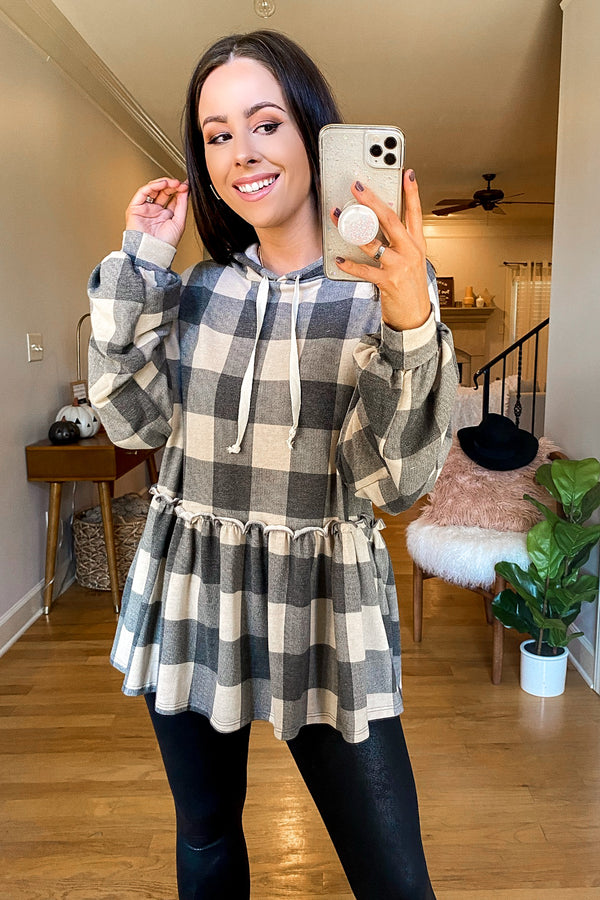 Charcoal / S Right Away Plaid Peplum Hoodie Top - FINAL SALE - Madison and Mallory