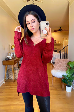 Wine / S Rockvale V-Neck High Low Sweater - FINAL SALE - Madison and Mallory