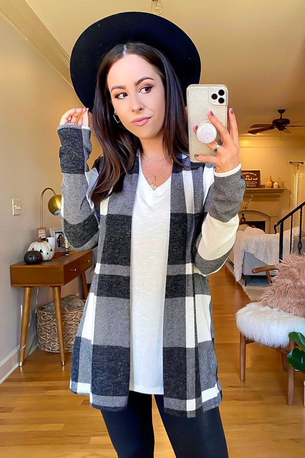Ivory / S Chill in the Air Tartan Plaid Cardigan - Madison and Mallory