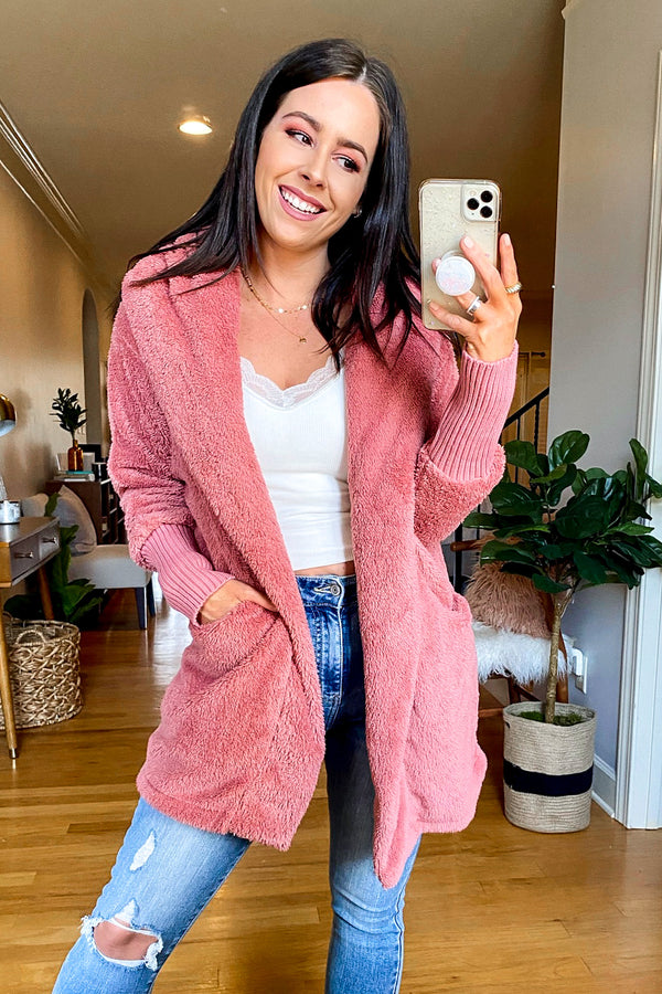 S / Dusty Rose One Step Closer Fuzzy Knit Hooded Cardigan - Madison and Mallory