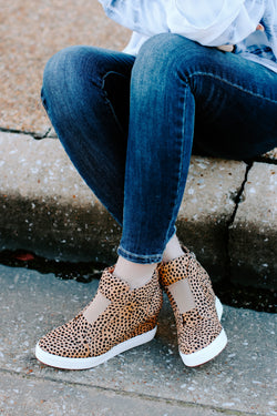 5.5 / Cheetah Front Row Cheetah Print Wedge Sneakers - Madison and Mallory
