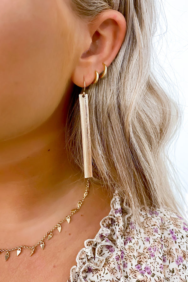 Gold Keep it Contemporary Textured Bar Drop Earrings - Madison and Mallory