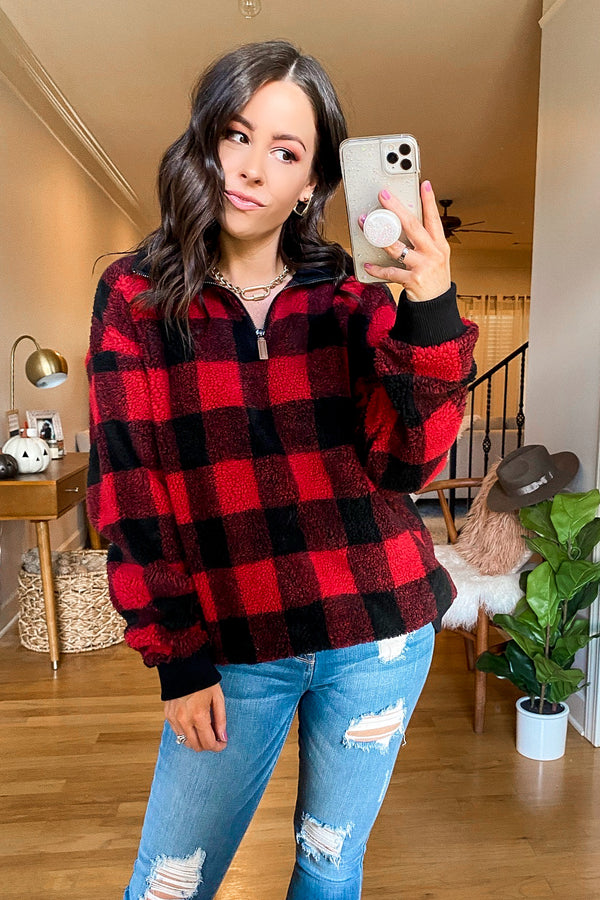 S / Red Tundra Plaid Sherpa Pullover - Madison and Mallory