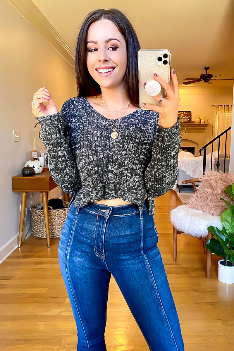 Charcoal / S Never Better V-Neck Cropped Sweater - Madison and Mallory
